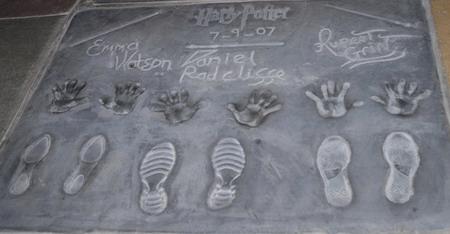 Harry Potter casts' hands & shoes' prints